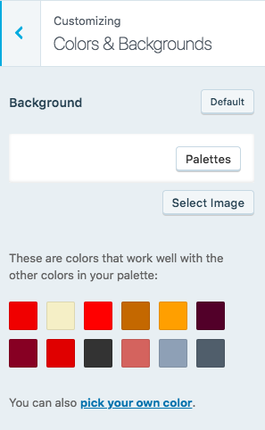 WordPress.com colors and backgrounds