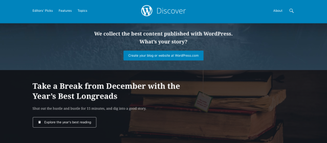 The WordPress Discover homepage