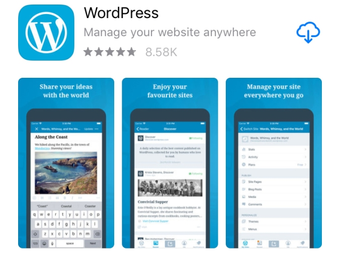 Build and edit a mobile friendly website (for the site owner and visitors) with the WordPress.com mobile app