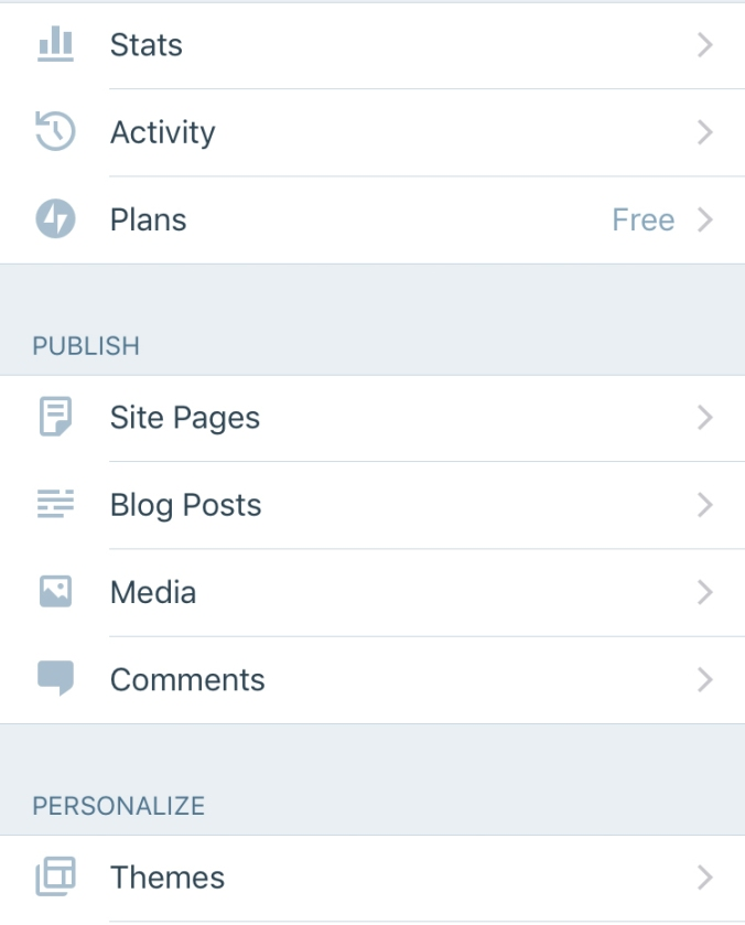 The WordPress.com mobile app dashboard