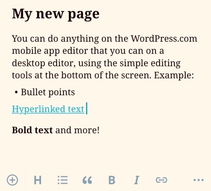 Creating new pages with the WordPress.com mobile app