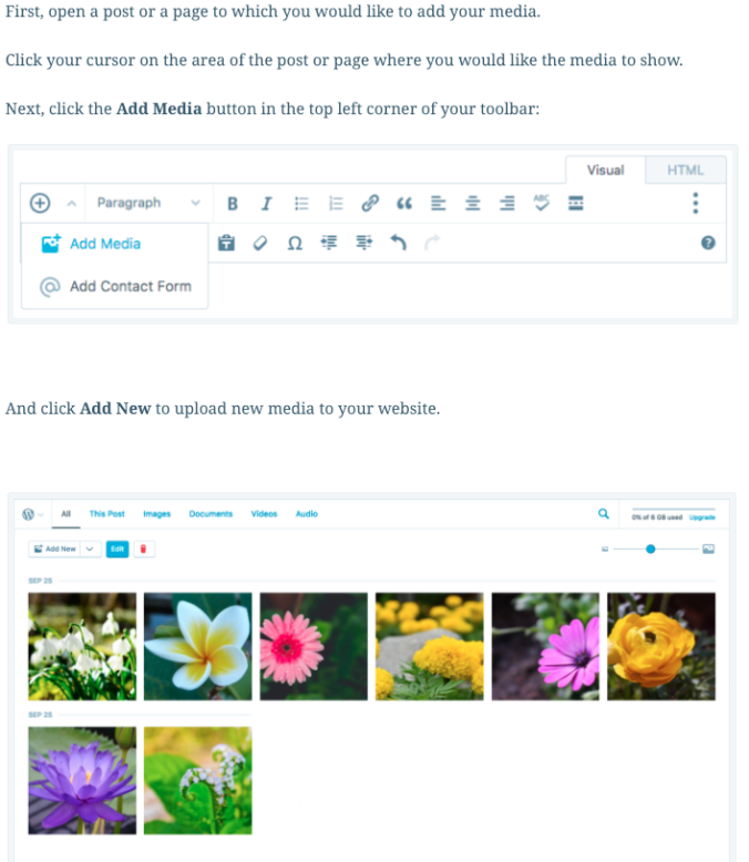 Adding images to a blog post in WordPress.com