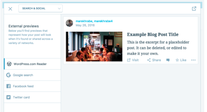WordPress.com search and social preview example
