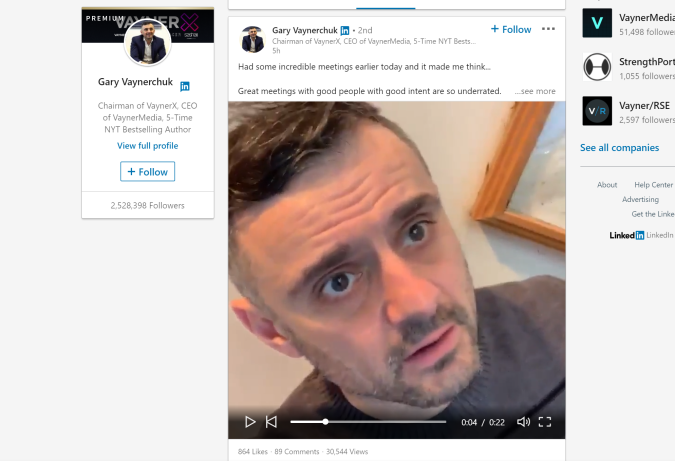 An example of native video in LinkedIn