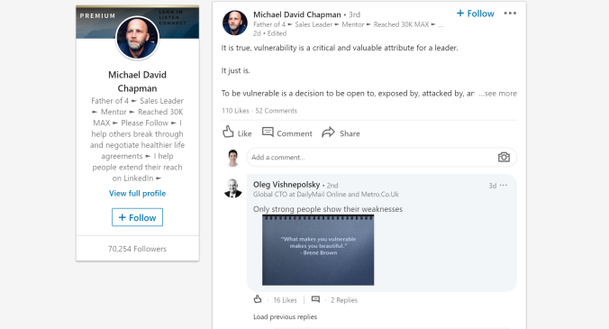 An example of a text-only post in LinkedIn