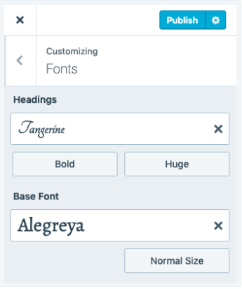 Customizing fonts