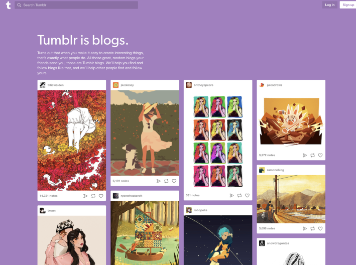 Screenshot of tumblr home page