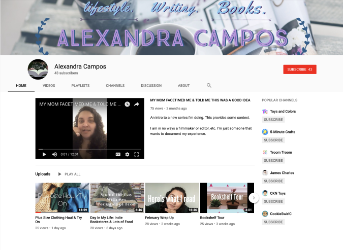 YouTube vlog example