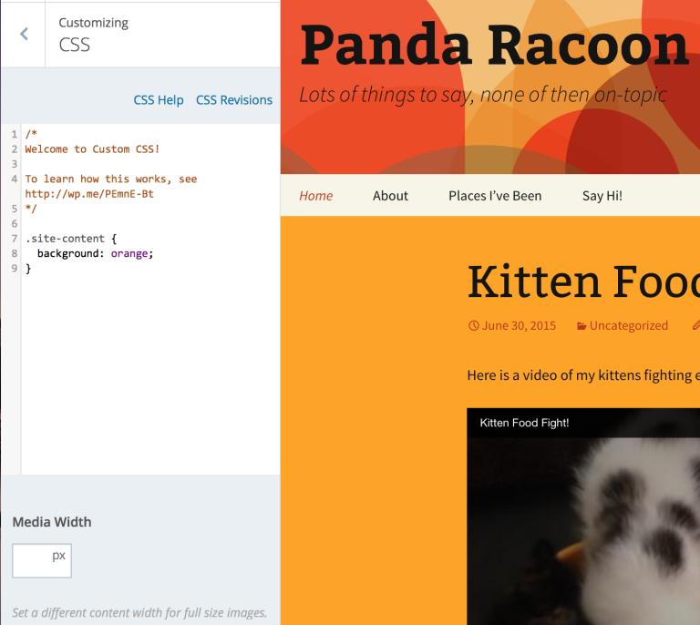 WordPress CSS customization
