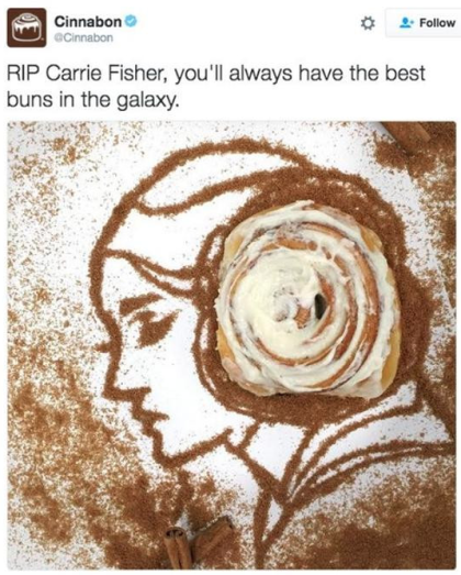 Mistakes on social media — Cinnabon tweet of Carrie Fisher