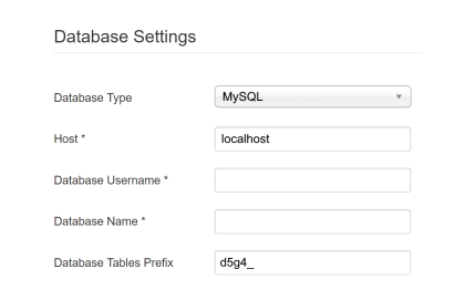 Joomla database settings