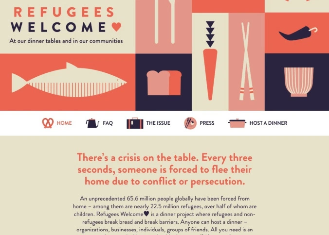 Good website navigation should include a nod to your brand: a logo and tagline. Refugees Welcome has a great example on their site.