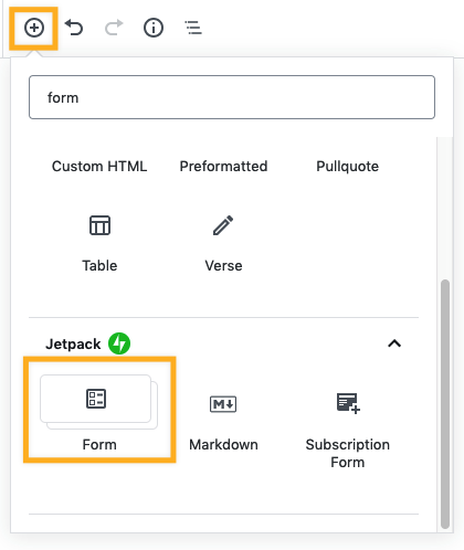 adding a contact form with Gutenberg