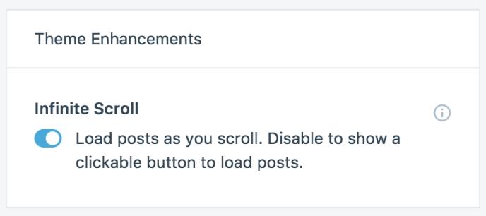 infinite scroll toggle WordPress.com