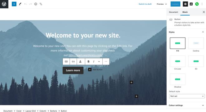 WordPress buttons block