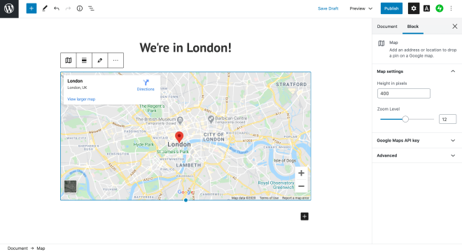 WordPress map block
