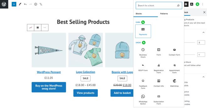 WordPress.com Payments tools