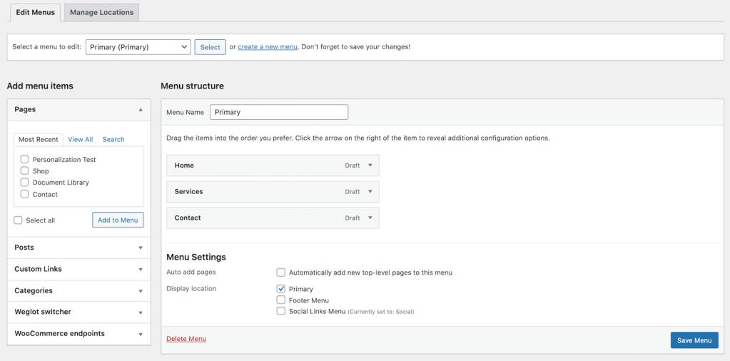 WordPress Create new menu