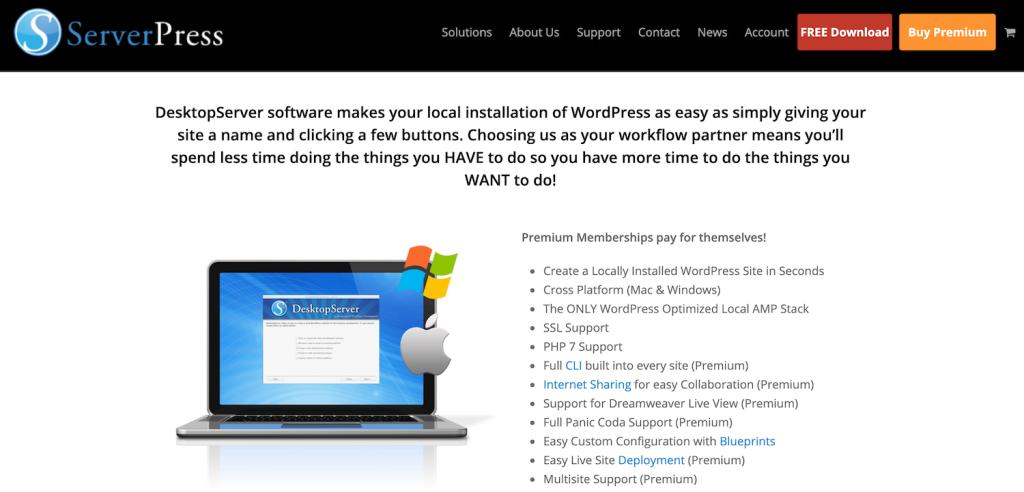 ServerPress DesktopServer download page