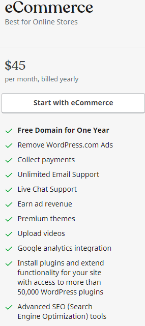 WordPress.com eCommerce plan