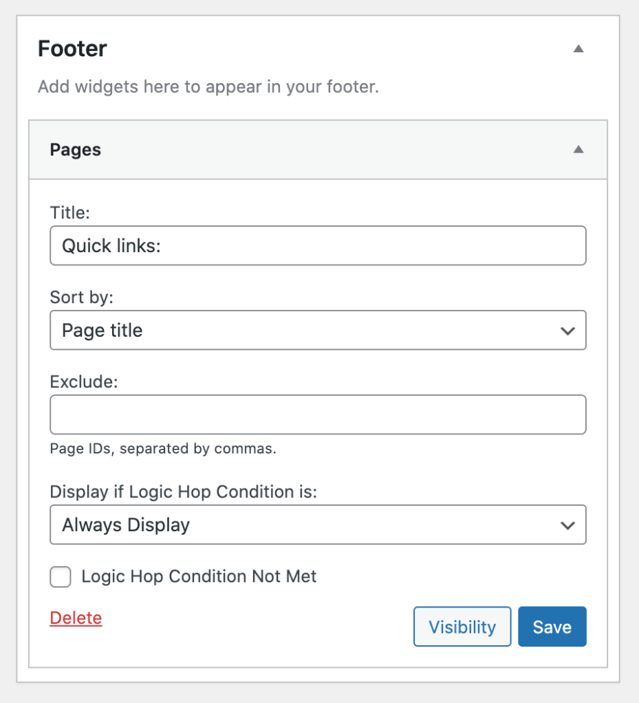 Footer pages widget