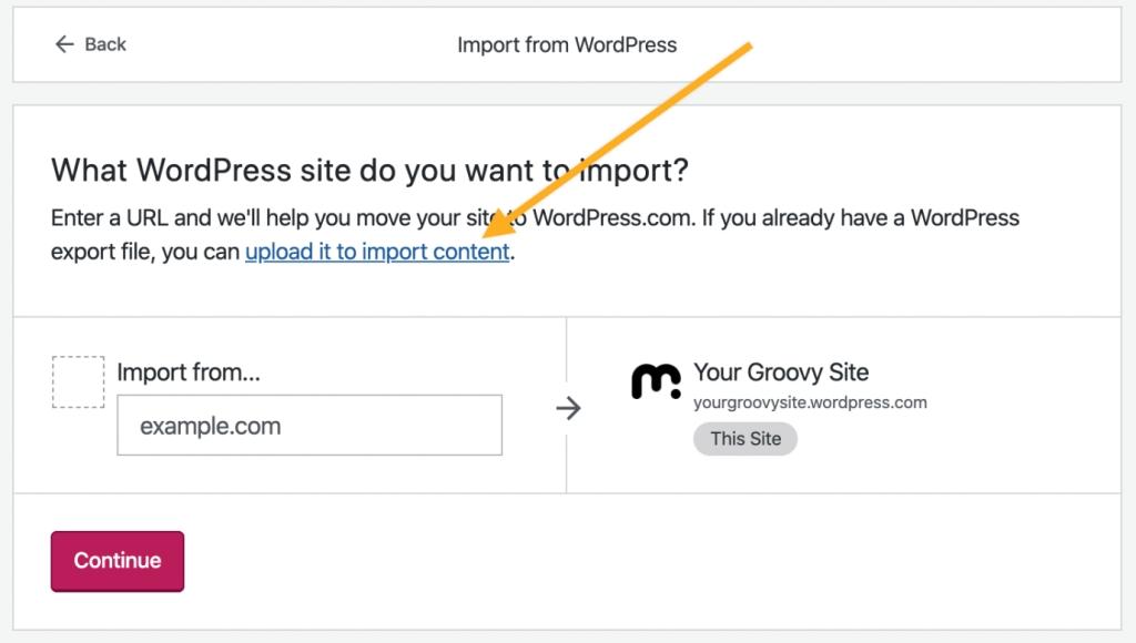 WordPress XML import