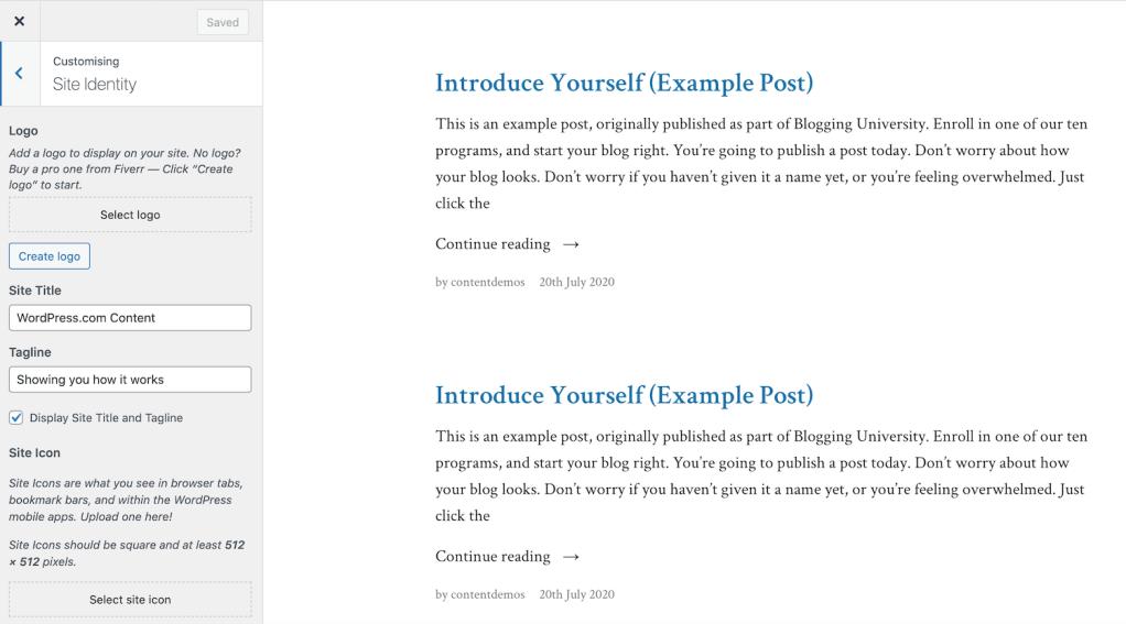 WordPress.com site identity