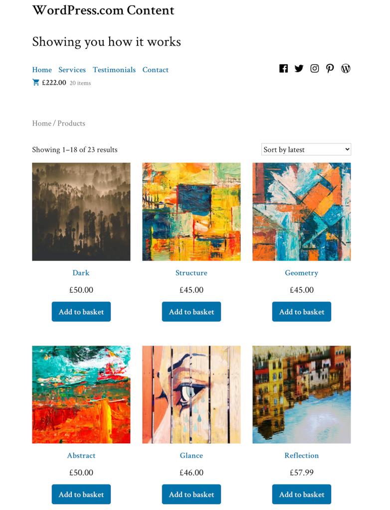 WordPress sell art online store page