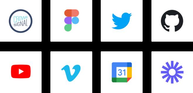Logos for Crowdsignal, Figma, Twitter, GitHub, YouTube, Vimeo, Google Calendar, and Loom