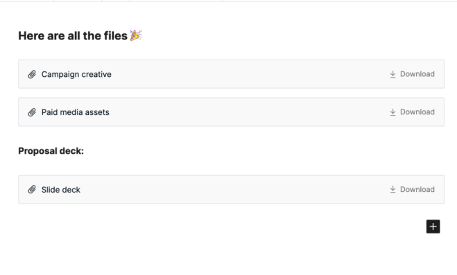 File blocks with Download buttons.